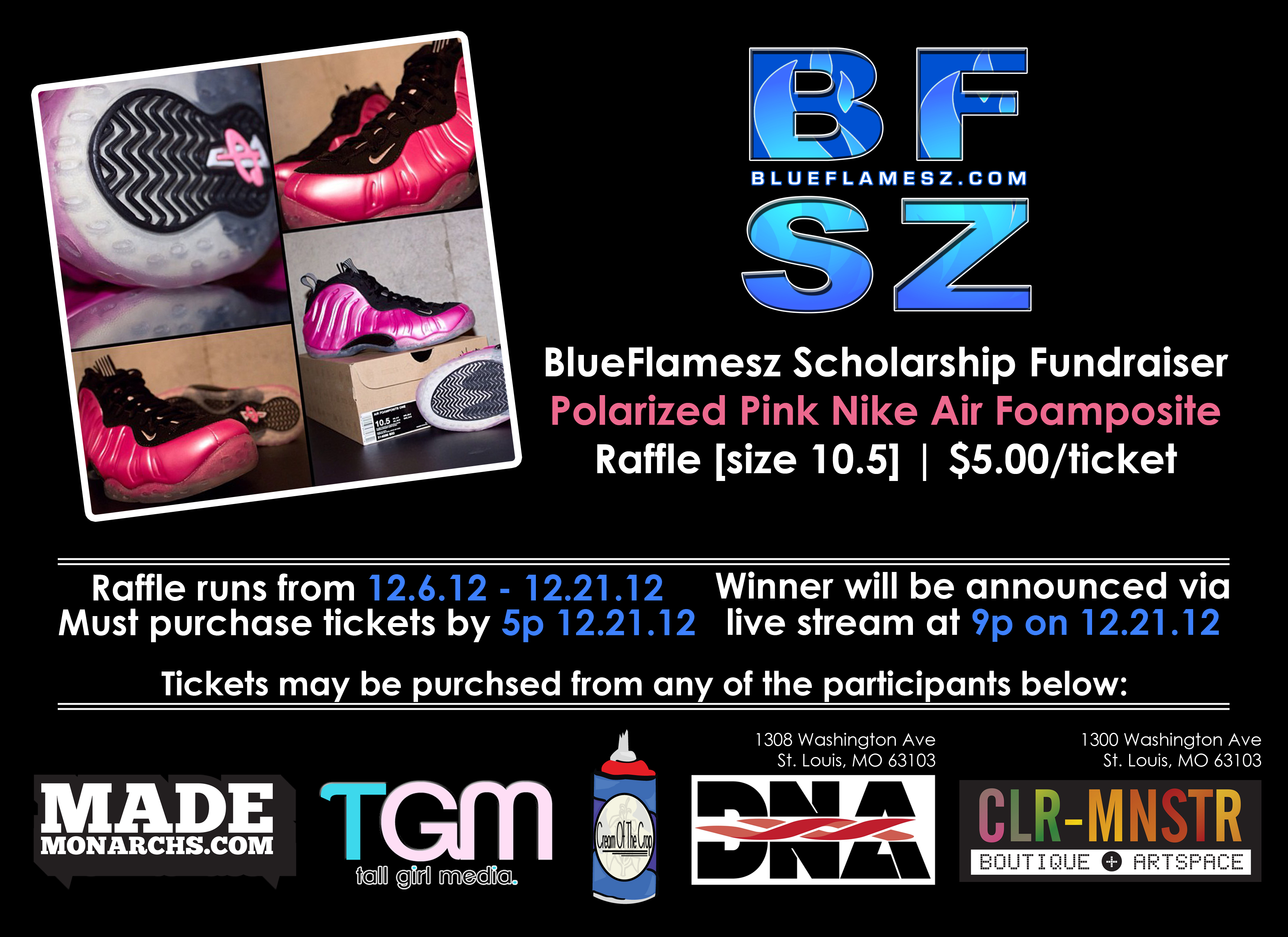 BlueFlamesz Scholarship Fund | Air Foamposite Raffle